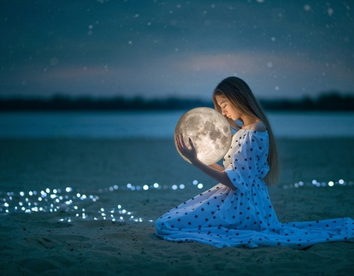 Beautiful Attractive Girl On A Night Beach With Sand And Stars H